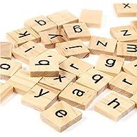 200のセット木製Scrabbleタイル文字with 1ラックホルダーセットボードゲーム、壁の装飾& Arts and Crafts