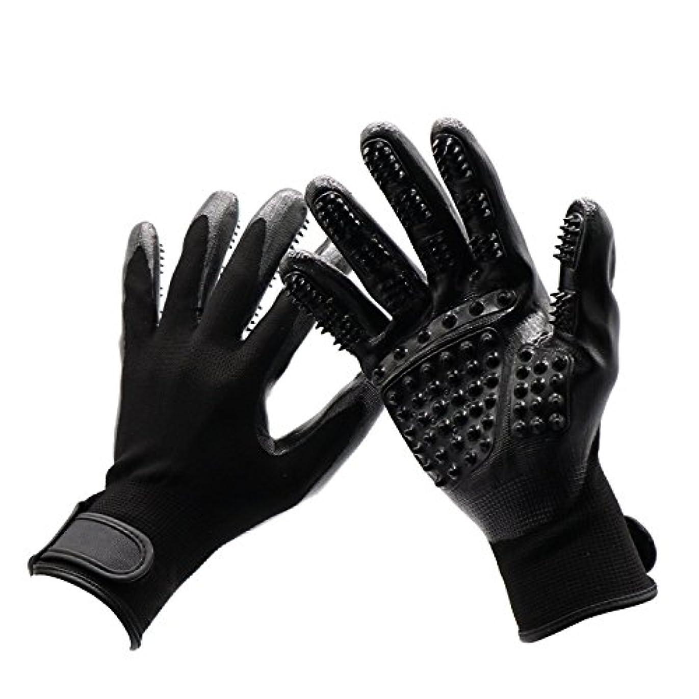 トロリー橋ロゴBTXXYJP 手袋 ペット ブラシ 猫 ブラシ グローブ クリーナー 抜け毛取り マッサージブラシ 犬 グローブ ペット毛取りブラシ お手入れ (Color : Black, Size : L- 9.6*5.5in)