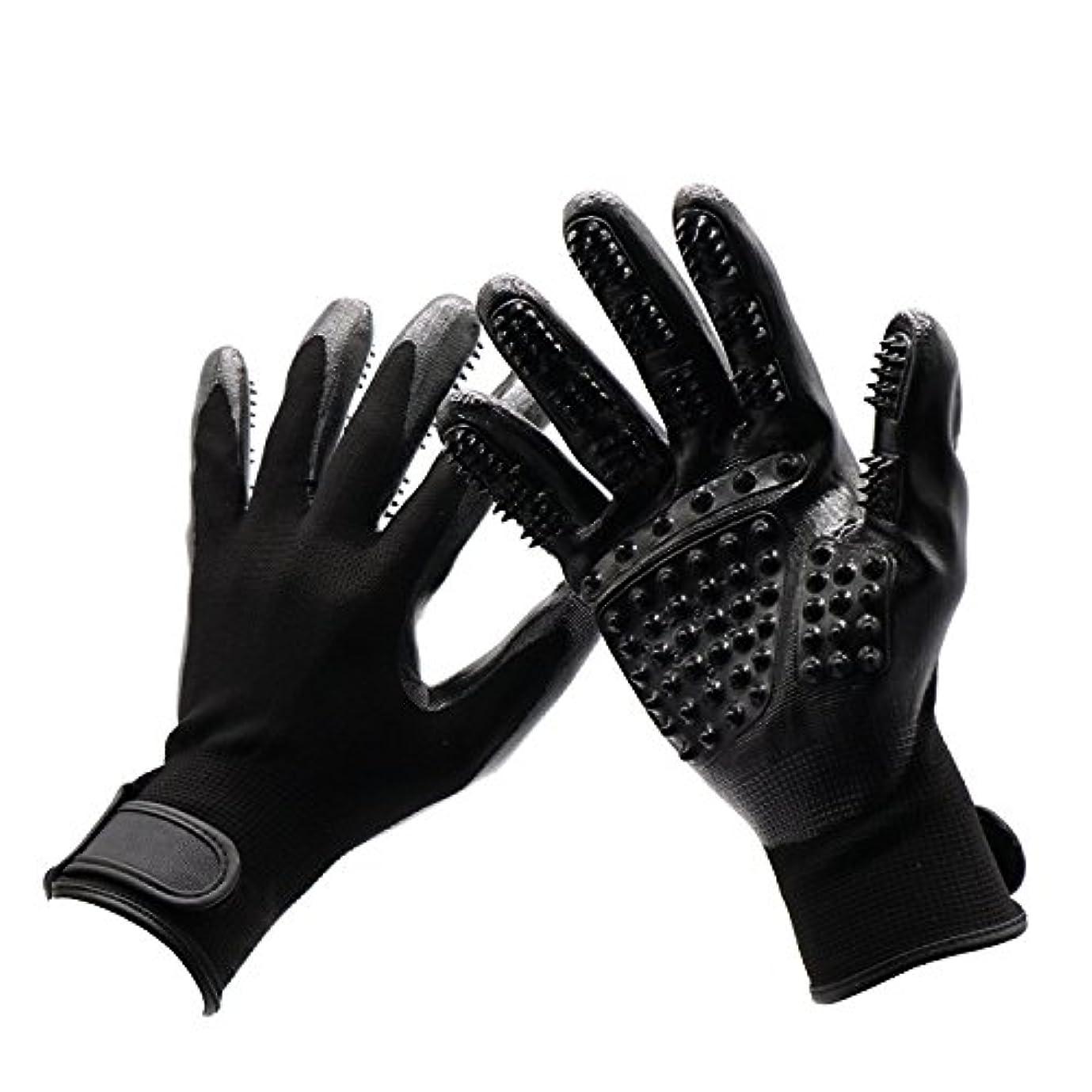 美徳正しく貫通するBTXXYJP 手袋 ペット ブラシ 猫 ブラシ グローブ クリーナー 抜け毛取り マッサージブラシ 犬 グローブ ペット毛取りブラシ お手入れ (Color : Black, Size : L- 9.6*5.5in)