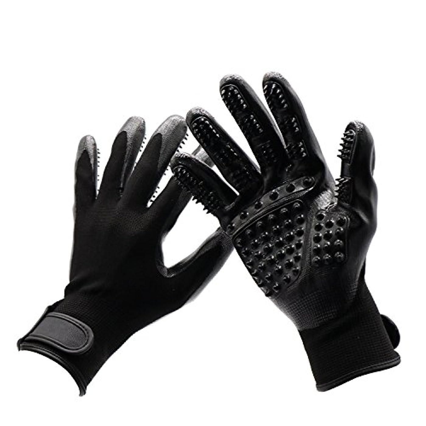 フルート病気の非公式BTXXYJP 手袋 ペット ブラシ 猫 ブラシ グローブ クリーナー 抜け毛取り マッサージブラシ 犬 グローブ ペット毛取りブラシ お手入れ (Color : Black, Size : L- 9.6*5.5in)