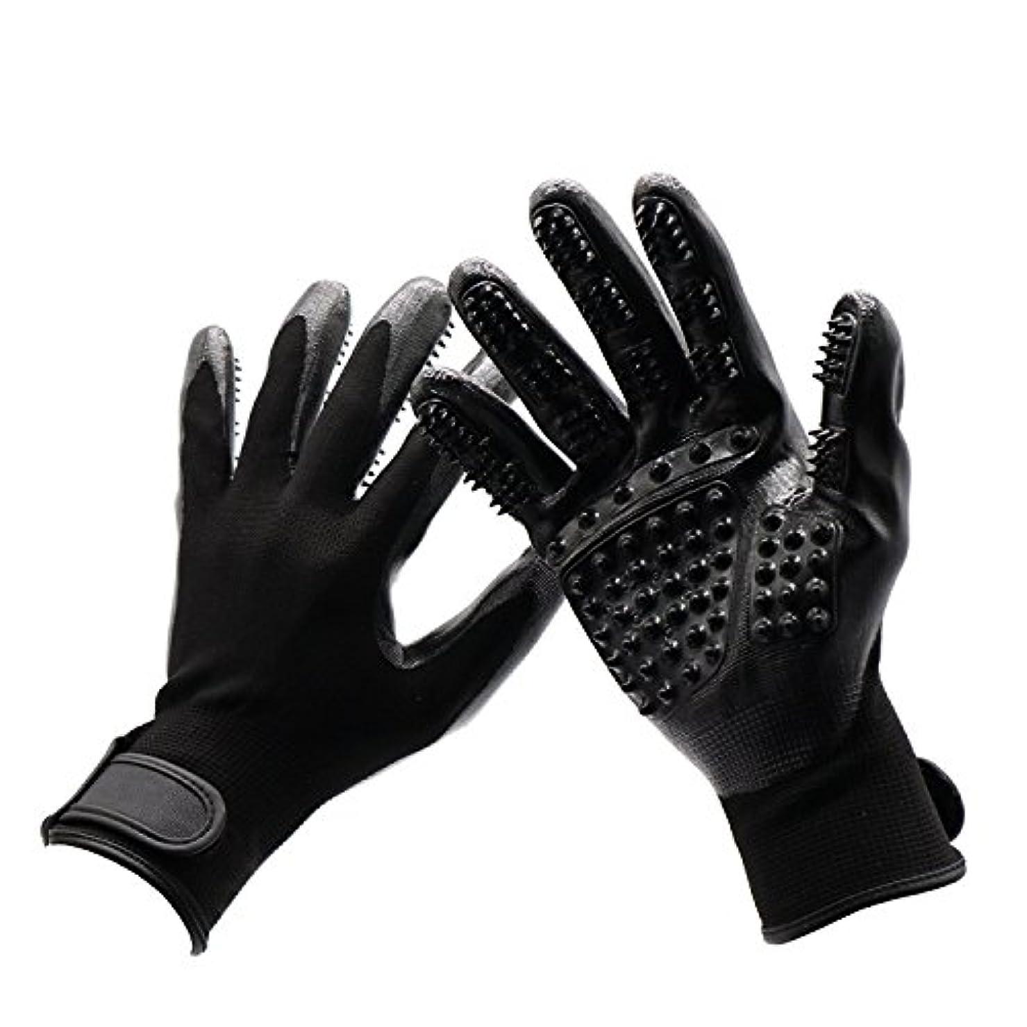 BTXXYJP 手袋 ペット ブラシ 猫 ブラシ グローブ クリーナー 抜け毛取り マッサージブラシ 犬 グローブ ペット毛取りブラシ お手入れ (Color : Black, Size : L- 9.6*5.5in)
