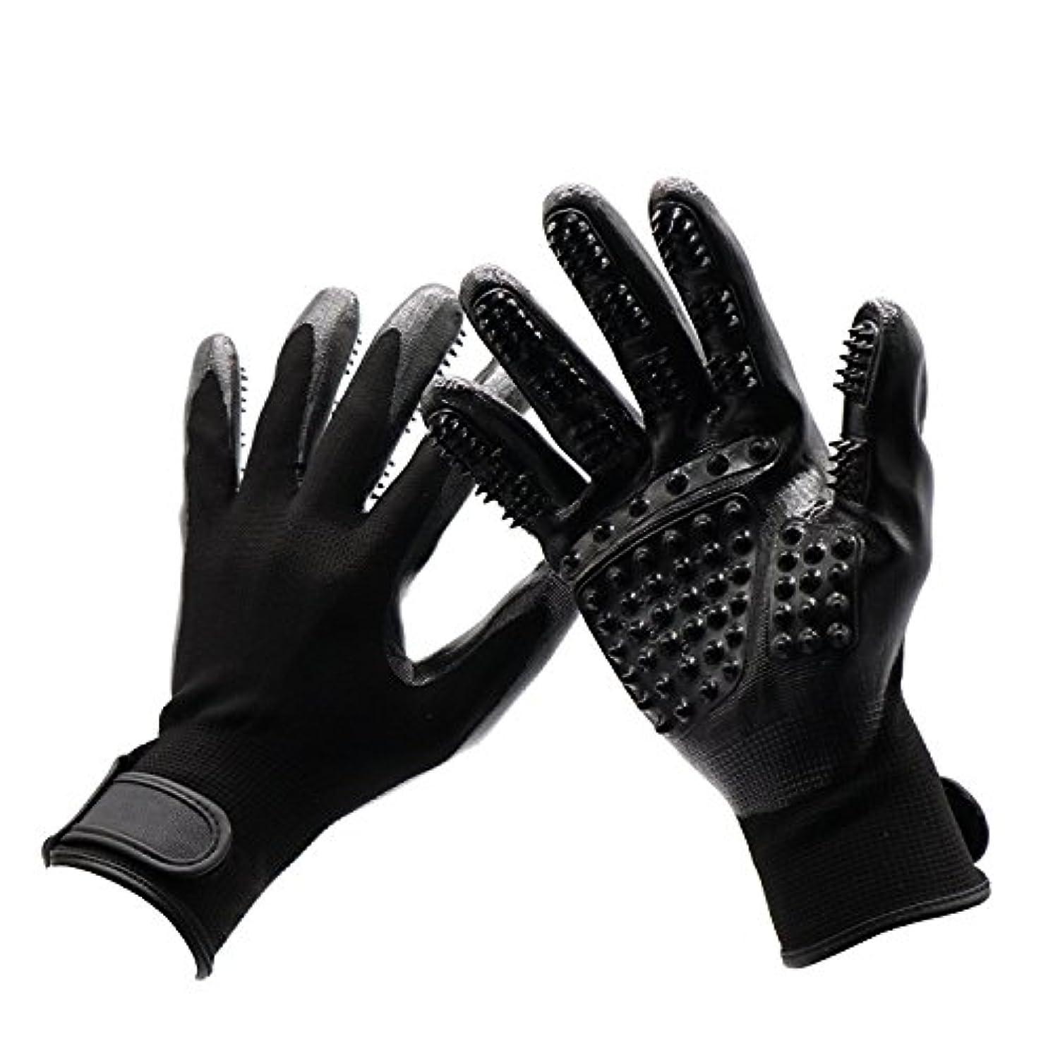 溶けたパフ成長するBTXXYJP 手袋 ペット ブラシ 猫 ブラシ グローブ クリーナー 抜け毛取り マッサージブラシ 犬 グローブ ペット毛取りブラシ お手入れ (Color : Black, Size : L- 9.6*5.5in)