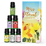 ASAKUKI Floral Essential Oil Set, Top 6 Natural 100% Pure Aromatherapy Oils for Oil Diffusers, Jasmine, Ylang Ylang, Gardenia, Rose, Cherry Blossom, Lavender for Home and Office, Promote Focus, Positivity and Happiness