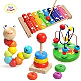 Laifaer Childrens Music Instruments Baby 4 Pieces Wood Toy with Xylophone Caterpillar Beads Pearl Labyrinth Toy and Rainbow Tower [並行輸入品]