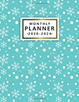 2020-2024 Monthly Planner: Elegant Turquoise 5 Year Monthly Agenda with 60 Months Spread View   Cute White Snowflakes Five Year Organizer with To-Do's, Inspirational Quotes, Vision Boards, Notes & More