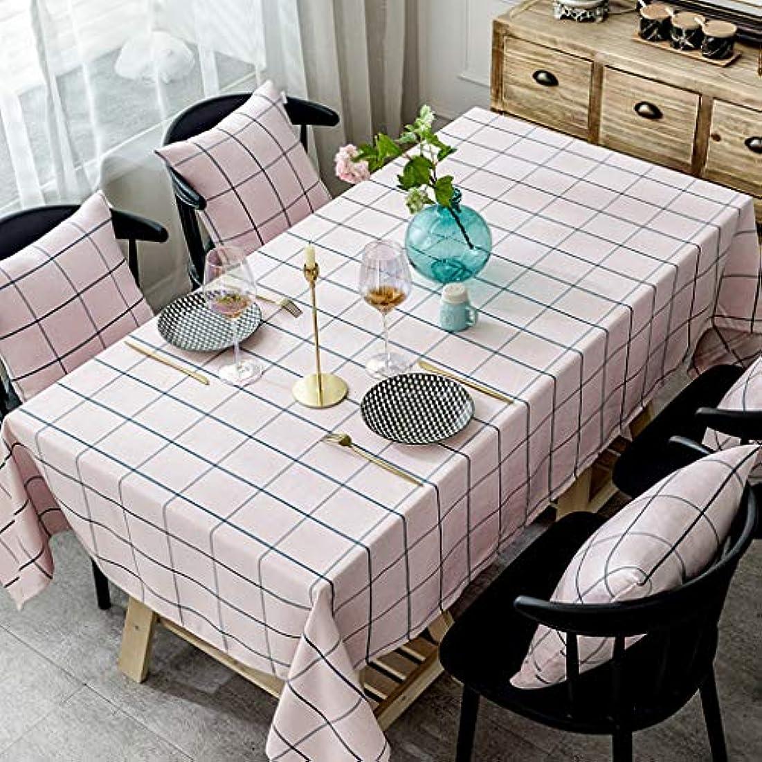 正統派トラック小人格子縞のテーブル クロス,長方形 綿 テーブル防塵 洗える ダイニング用テーブルカバー コーヒーテーブルクリスマスの装飾-ピンク 130x180cm