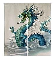 カスタムGolden Chinese Dragon Japanese Noren Doorway Curtainドアとウィンドウカーテンタペストリー 105x120cm