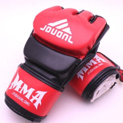 オープンフィンガーグローブ トレーニング パンチンググローブ 拳ガード ハーフフィンガー グローブ 総合格闘技 MMA UFC テコンド 2色/aja flowers (黒赤)