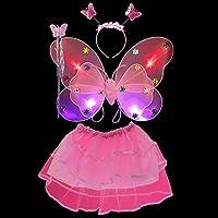 Refaxi かわいい子供たちの女の子の妖精の蝶の翼のワンダフルドレスダンスパーティーの衣装セット(LEDピンク 4PCS)