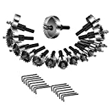 ホールソーセット HSSドリルビット 15PCS 15-53mm ボアビットセット 木工 鉄 アルミニウム管 厚い薄い鋼板など 穴あけ工具 ホールソー 電動ドリル用 (15本セット)