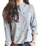 (フムフム) fumu fumu ブラウス 長袖 おおきいサイズ シャツ レディース 刺繍 ファッション かわいい カジュアル フォーマル ビジネス 上品 黒 ストライプ 柄 S M L XL (1. S)