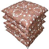 華やか桜花柄のふっくらふくれ座布団 5枚組 55cm×59cm 日本製 赤