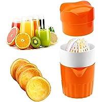 Hand Juicer Citrus,Supplylink オレンジポータブル手動蓋回転 ライムグレープフルーツ用Strainer コンテナ、ジュース押し オレンジ