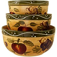 KITCHEN BOWLS, MIXING BOWLS TUSCANY FRUIT DECOR by ACK
