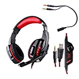 [Update Version] PC PS4 Phone Gaming Music Headphone EACH G9000 3.5mm Game Gaming Headset Microphone LED Light with Combo Conn..