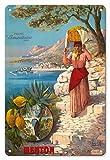 22cm x 30cmヴィンテージハワイアンティンサイン - マントン、フランス - ザ・パールオブフランス - サン=ルイ橋 - マントン港付近でフルーツバスケットを持った女性 - プライム・サマテリーヌ・パリ - ビンテージな世界旅行のポスター によって作成された フレデリック・ヒューゴ・ディアレッシー c.1895