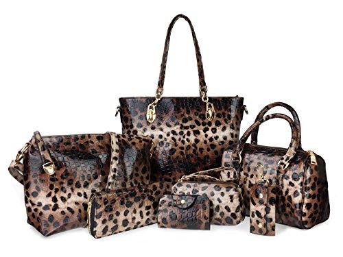 レディース バーグ 7個セット  トート 手さげバッグ ショルダーバッグ 化粧品 コスメ ポーチ 財布 キーケース カードホルダー (豹柄)