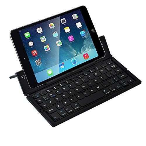 ブルートゥースキーボード WUUDI Bluetooth接続 折りたたみ式 ワイヤレス スタンド機能とケース付き コンパクト 軽量 薄型 簡単ペアリング IOS/Android/Windowsに対応(ブラック)