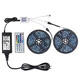 WenTop LEDテープライトスーツ 両面テープ SMD 5050 防水ledテープ 10m 300連 30leds/m 正面発光ledテープ led RGB 12v電源と44K リモコン 高輝度 切断可能 明るいライト