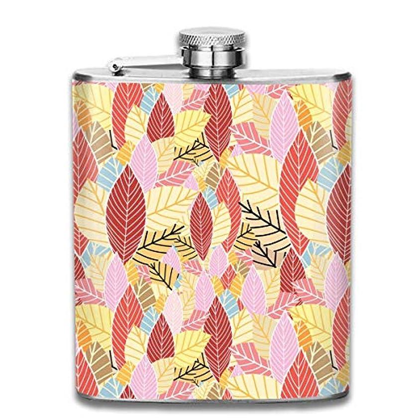 偶然シードラップ綺麗な秋の葉フラスコ スキットル ヒップフラスコ 7オンス 206ml 高品質ステンレス製 ウイスキー アルコール 清酒 携帯 ボトル