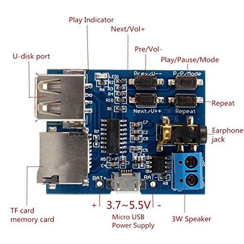 『HiLetgo 2個セット TFカード Uディスク Mp3デコーダ モジュール デコーダボード 無損失デコード 増幅器 [並行輸入品]』の6枚目の画像