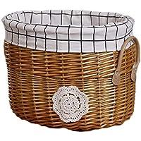 籐のランドリーバスケットコットンの三角のライニング汚れたハンパーの服雑貨のストレージバスケット (サイズ さいず : 30 * 30 * 40cm)