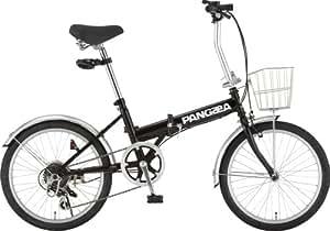 PANGAEA(パンゲア) ROBINSON ロビンソン ブラック 20インチ 折りたたみサイクル シマノ6段変速 前後泥除け/カゴ/LEDライト/ワイヤーロック標準装備 73377-01