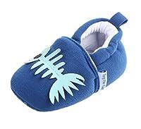 YiyiLai YiyiLai 新生児 ベビーシューズ 可愛い ファーストシューズ 女の子 男の子 滑り止め 靴 脱ぎにくい ブルー魚骨 13号