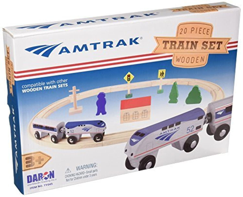 Daron Worldwide Trading Daron Amtrak Wooden Train Set (20 Piece) [並行輸入品]