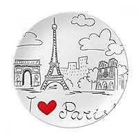 I Love Paris France Eiffel Towerライン装飾磁器デザートプレート8インチディナーホームギフト