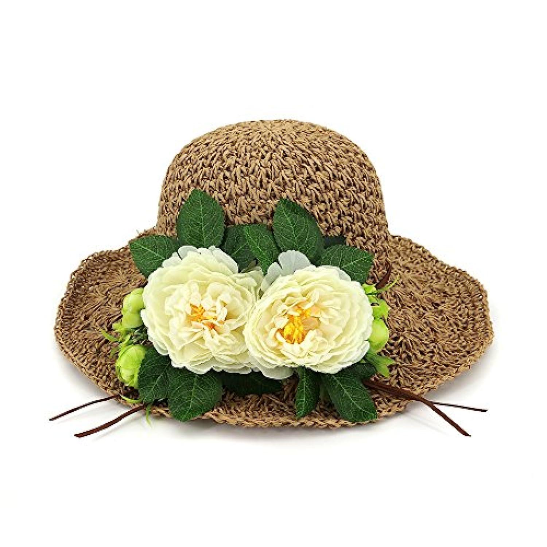 Yaojiaju 夏のストロー帽子、フラワー手編みの麦わら帽子ファッションワイドな髪の毛の夏の屋外ビーチ女性の女の子のための太陽の帽子 (色 : Brown)