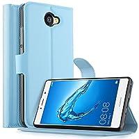 Huawei Nova Lite Plus ケース KuGi Huawei Nova Lite Plus カバー スタンド機能付き 手帳型ケース 横開き カッドポケット 耐衝撃 PUレザー カバー 財布型 スマートフォンケース Huawei Nova Lite Plus 携帯全面保護カバー 本体の傷つきガード ブルー
