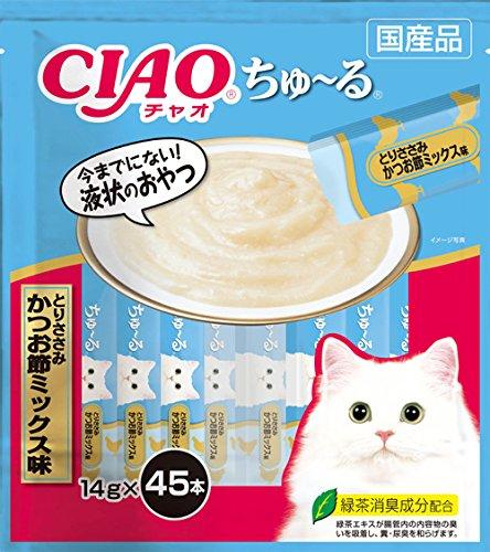 チャオ (CIAO) 猫用おやつ ちゅ~る とりささみ かつお節ミックス味 14g×45本入