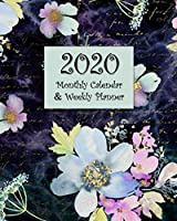 2020 Monthly Calendar & Weekly Planner: Agenda Book - Blue and Purple Floral Watercolor Design