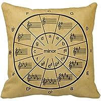 ヴィンテージ音楽ピローケースについては五度圏(カバーのみ、中身なし)45cm×45cm