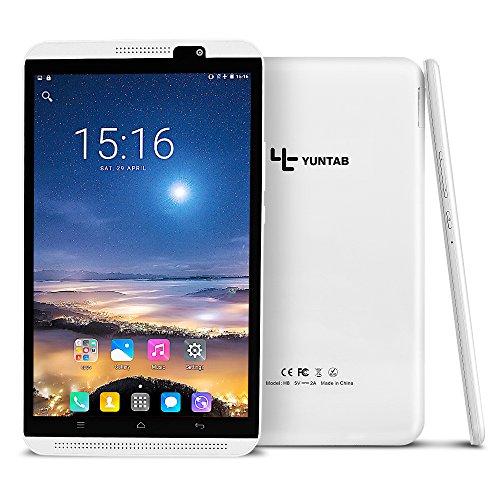 YUNTAB(JP)8インチ Androidタブレット H8 tablet pc IPSディスプレイ1280*800 64ビット クアッドコア 2GB RAM+16GB ROM デュアルSIMスロット 3G&LTE移動通信 GPS/FM/Bluetooth4.0/Wi-Fiに対応 (白)