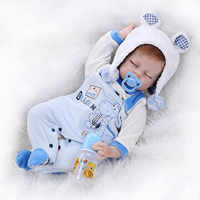 NPK collection Sleeping Real Lifelike Rebornベビー人形幼児用Realistic Looking新生児ソフトSiliconeビニール人形55 cm 22インチ誕生日ギフトXmas Present Freeマグネットparcifer