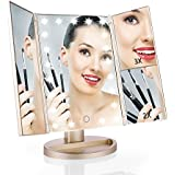 Easehold Led Lighted Vanity Mirror Make Up Tri-Fold with 21Pcs Lights 180 Degree Free Rotation Table Countertop Cosmetic Bathroom Mirror (Gold)