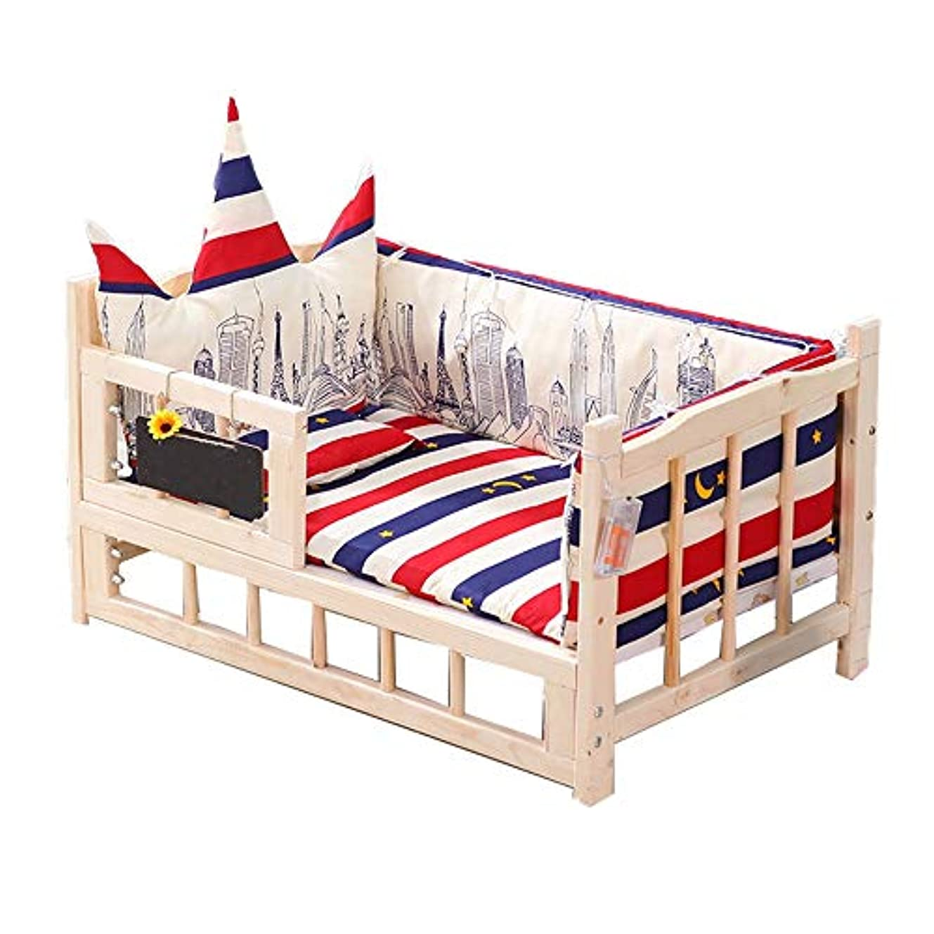 仮称近似緯度すべての猫と縞模様PP綿パッド付き小型犬木製ベッド用ソリッドウッド素材に最適厚みの木製ペットベッドのウサギの巣 (Size : M)
