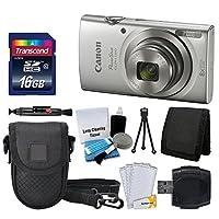 Canon PowerShot ELPH 180デジタルカメラ(シルバー) + Transcend 16GBメモリカード+ Point & Shootカメラケース+ USBカードリーダー+ LCDスクリーンプロテクター+メモリカード財布+クリーニングペン+アクセサリキット