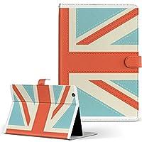 igcase Qua tab QZ8 KYT32 au LGエレクトロニクス キュアタブ タブレット 手帳型 タブレットケース タブレットカバー カバー レザー ケース 手帳タイプ フリップ ダイアリー 二つ折り 直接貼り付けタイプ 007443 その他 国旗 英国 赤 レッド 水色