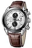 【期間限定セール】R-timer(アールタイマー) 防水腕時計 メンズ 多機能ウォッチ 多針アナログ表示 日付表示機能 カレンダー付き(ブラウン)