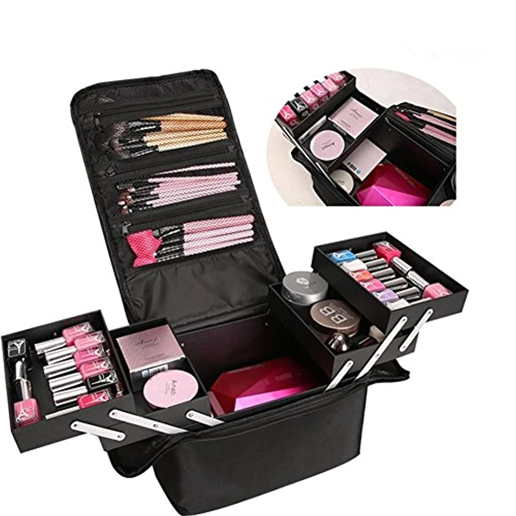 変装したプロポーショナルインタフェースSIRIN メイクボックス コスメボックス 大容量 化粧品収納ボックス 収納ケース 小物入れ 大容量 取っ手付 4段階 4色 (ブラック)