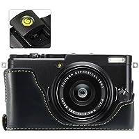 No1accessory XJPT-X70-D01 ブラック FUJIFILM Fuji X70 専用 防水 PU レザー 一眼レフ カメラバッグ カメラケース ハンドストラップ + レベル