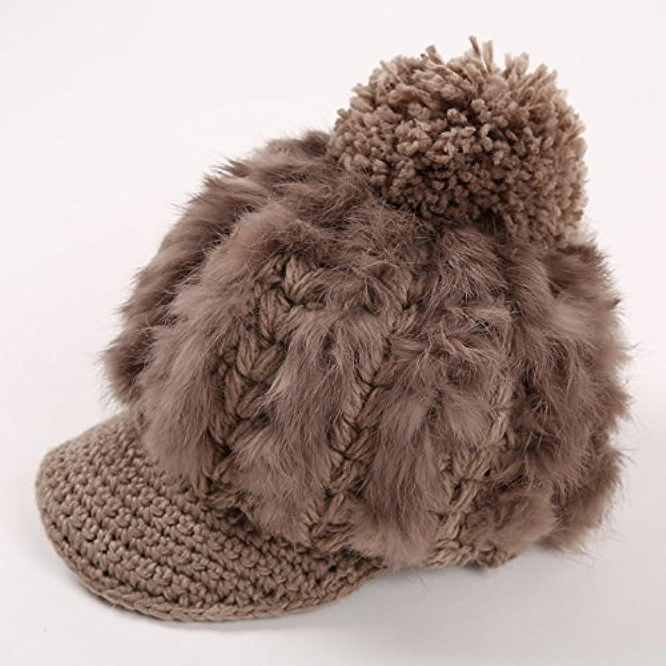 CAICOLOR 舌ウールキャップ、ファッショナブルな女性の暖かいカジュアルかわいいウサギの毛毛糸の帽子 (色 : 4)