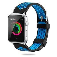 For Apple Watchバンド38mm 42mm、yijyiソフトシリコンスポーツ用交換ストラップリストバンドiWatchバンドApple Watchシリーズ3、2シリーズ、シリーズ1 ブルー