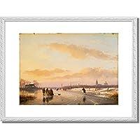 Schelfhout, Andreas,1787-1870「Enjoying the Ice. 1855」インテリア アート 絵画 プリント 額装作品 フレーム:装飾(白) サイズ:M (306mm X 397mm)