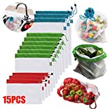 12ピース/ 15ピースホームキッチンエコフレンドリーで再利用可能なメッシュ巾着茶フルーツ野菜のおもちゃ食料品収納袋 (15pcs/Lot)