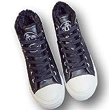 (23, ブラック)秋 冬 あったか 裏起毛 ハイカット スニーカー ブーツ 白 黒 ホワイト ブラック 24 23.5 23 (フルールアンフェ)FleurUneffe