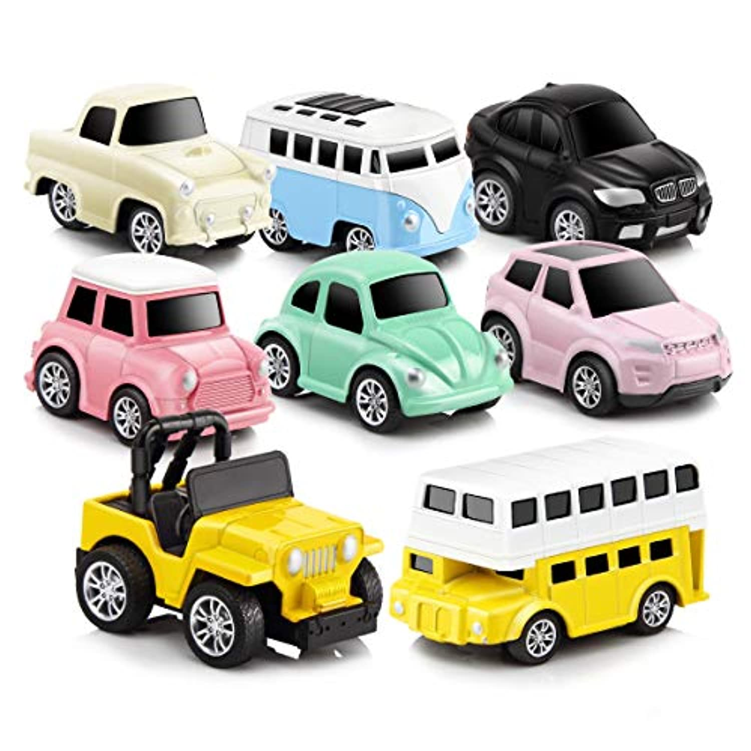(rainbow) - Pull Back Cars Alloy Vehicles Set Mini Car Model Construction and Raced Trucks for Toddlers Gift 8 PCS